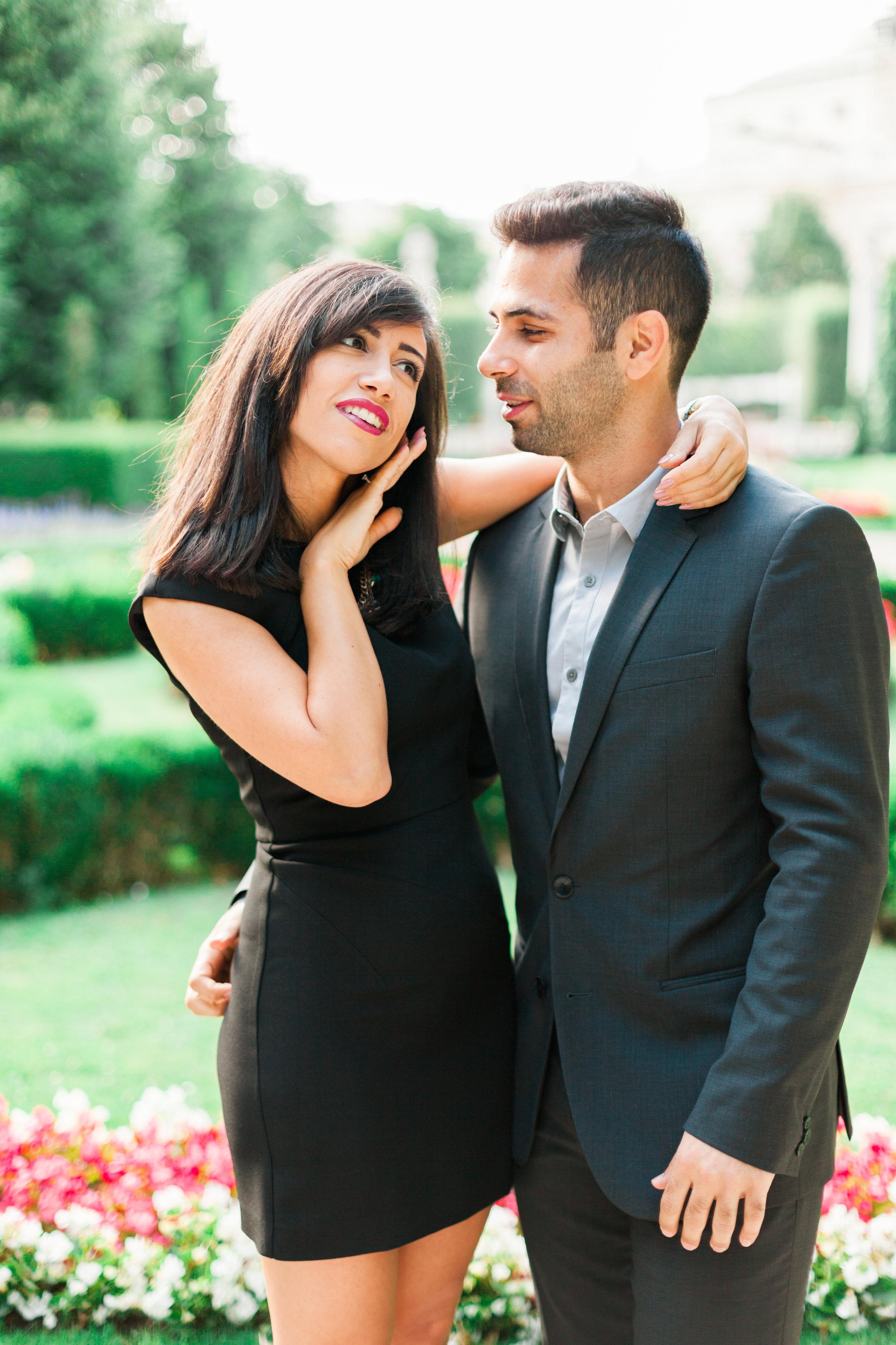 Marriage proposal in Volksgarten Hofburg Vienna Austria by Film photographer Michelle Mock