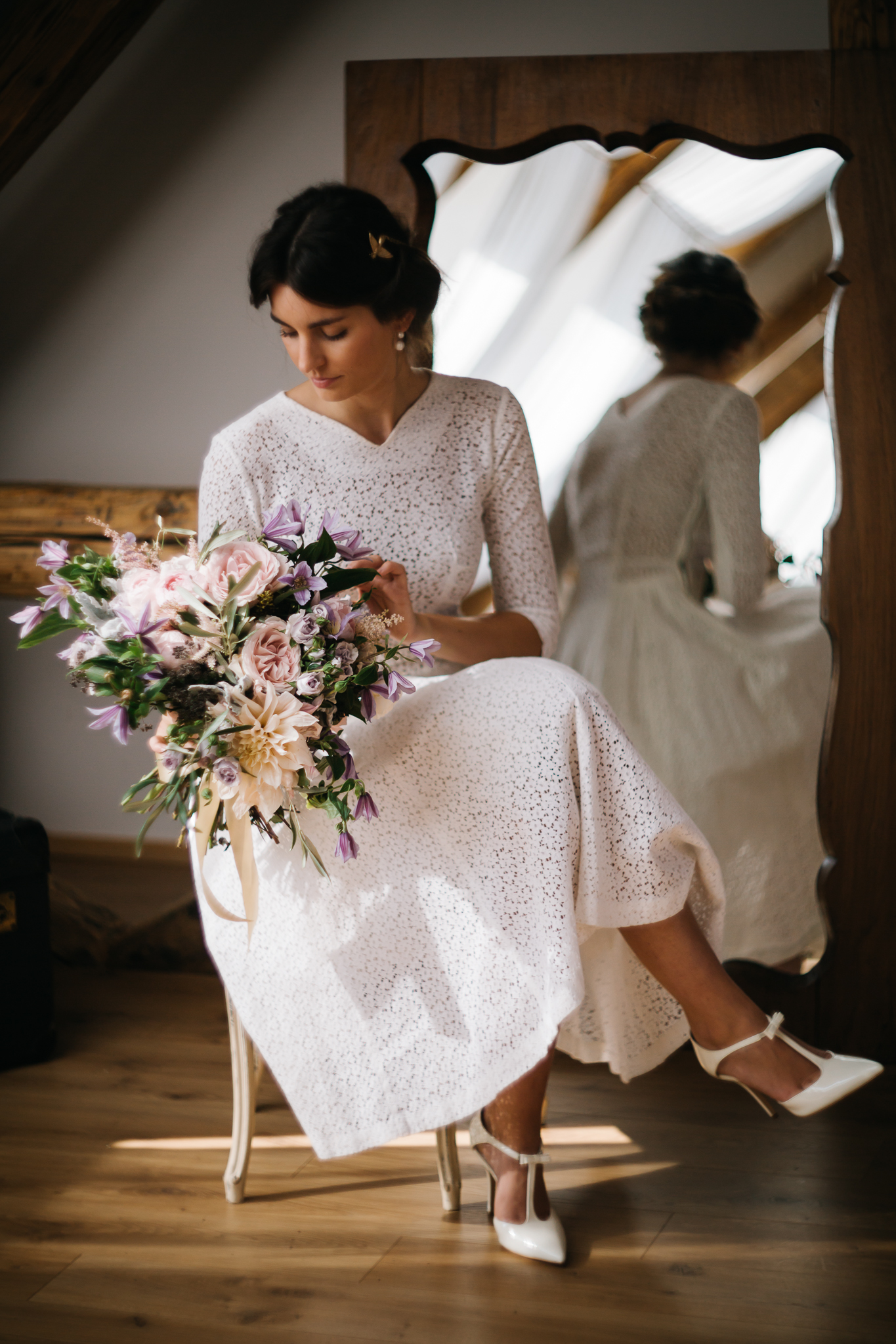 1950 vintage lace wedding dress and blush roses clematis dusty green bridal bouquet by PONK Rentals at Wiegerova Vila Slovakia