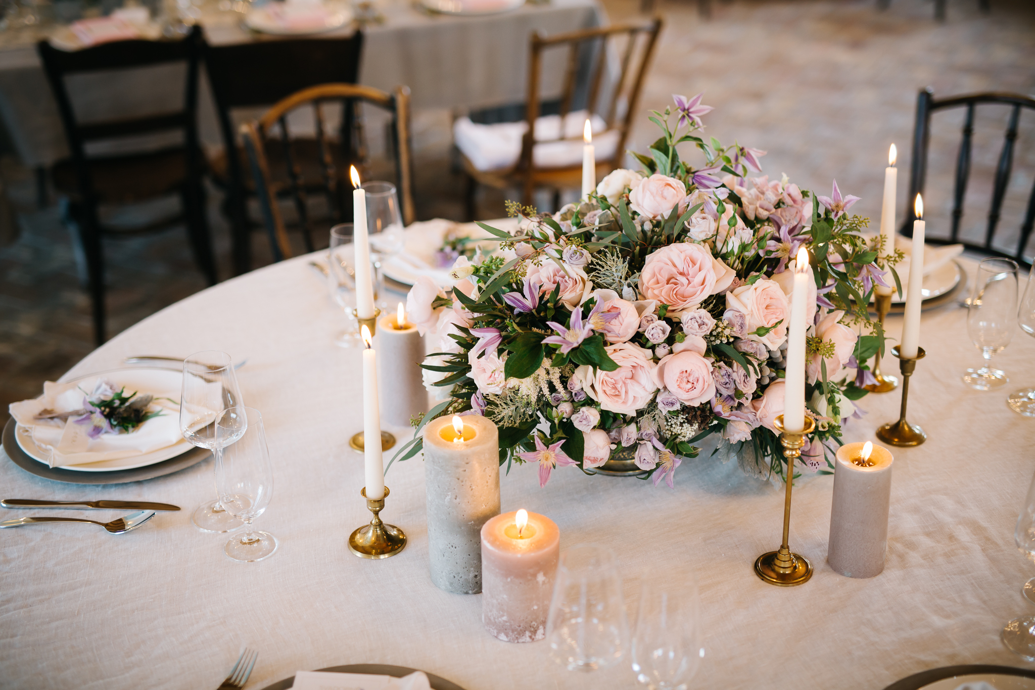 Blush roses clematis dusty green wedding centrepiece by PONK Rentals at Wiegerova Vila Slovakia
