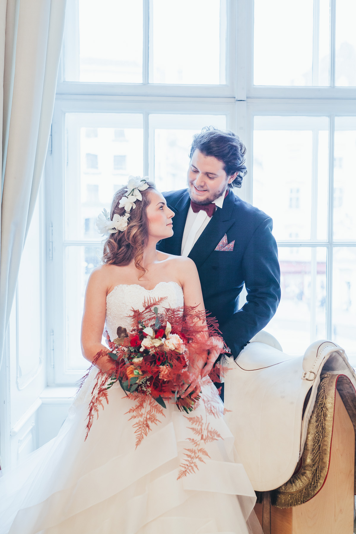 Styled shoot with a horse Metamorphoses by luxury destination wedding planner High Emotion Weddings at the Spanish Riding School Vienna Austria
