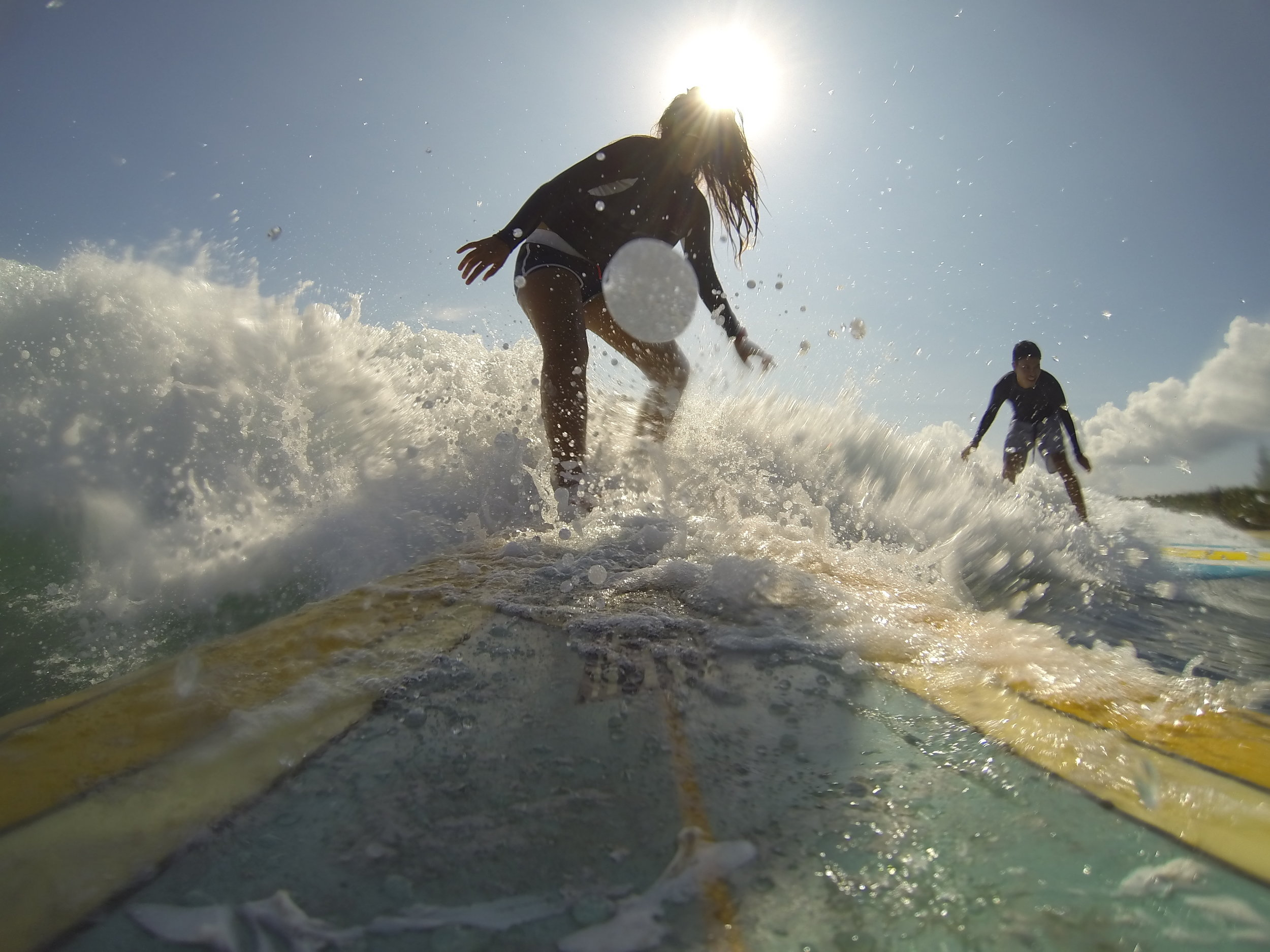 One of those rare occasions when I'd take out my GoPro to surf. It was almost all wipeouts and this was the only decent shot. Hello to Miko on the side!