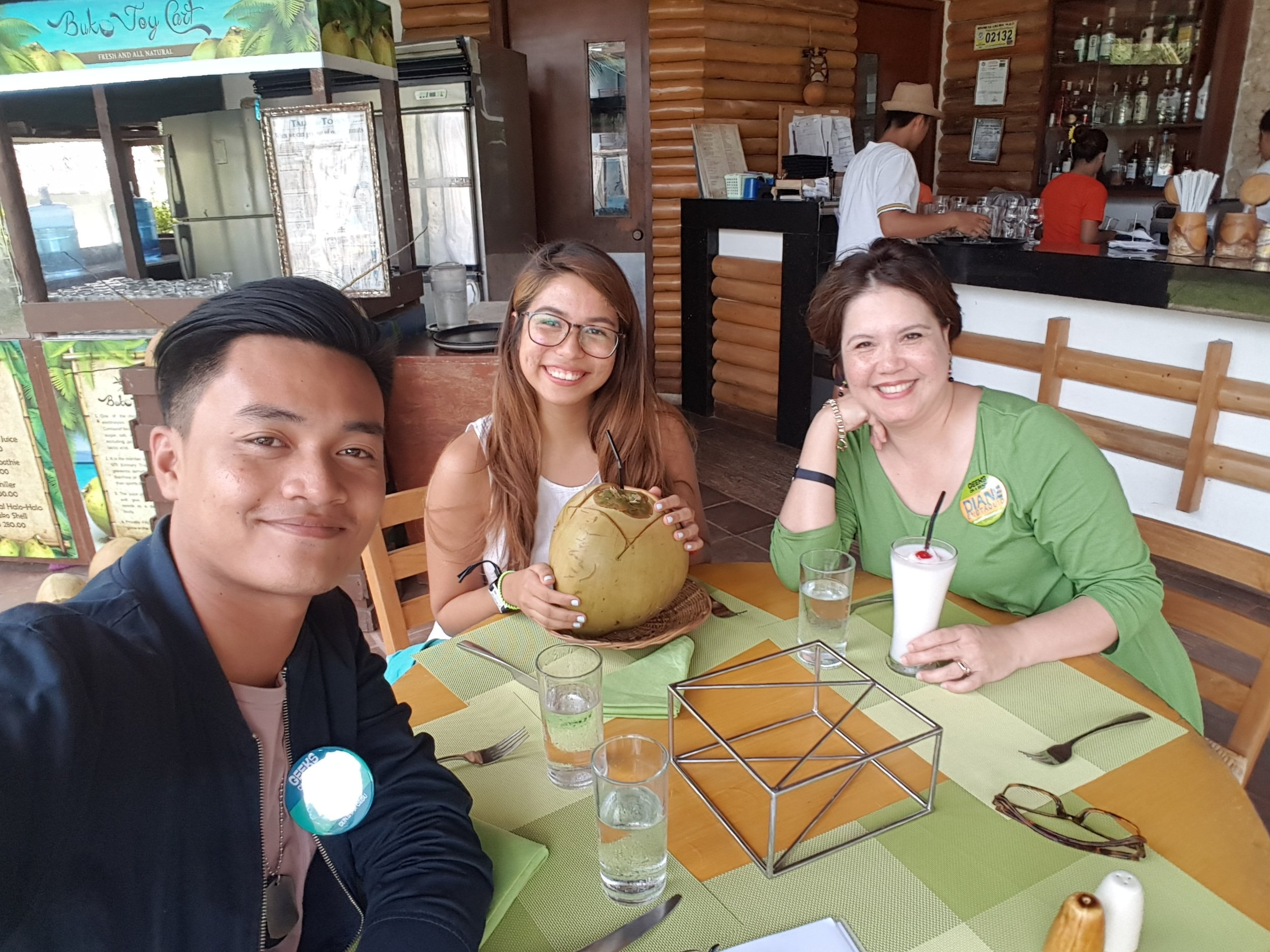 Ticking off my digital nomad bucket list with fresh buko and the pleasurable company of Ace Perez of Sunstar Davao and Diane Estaquio, executive director of IdeaSpace Foundation.