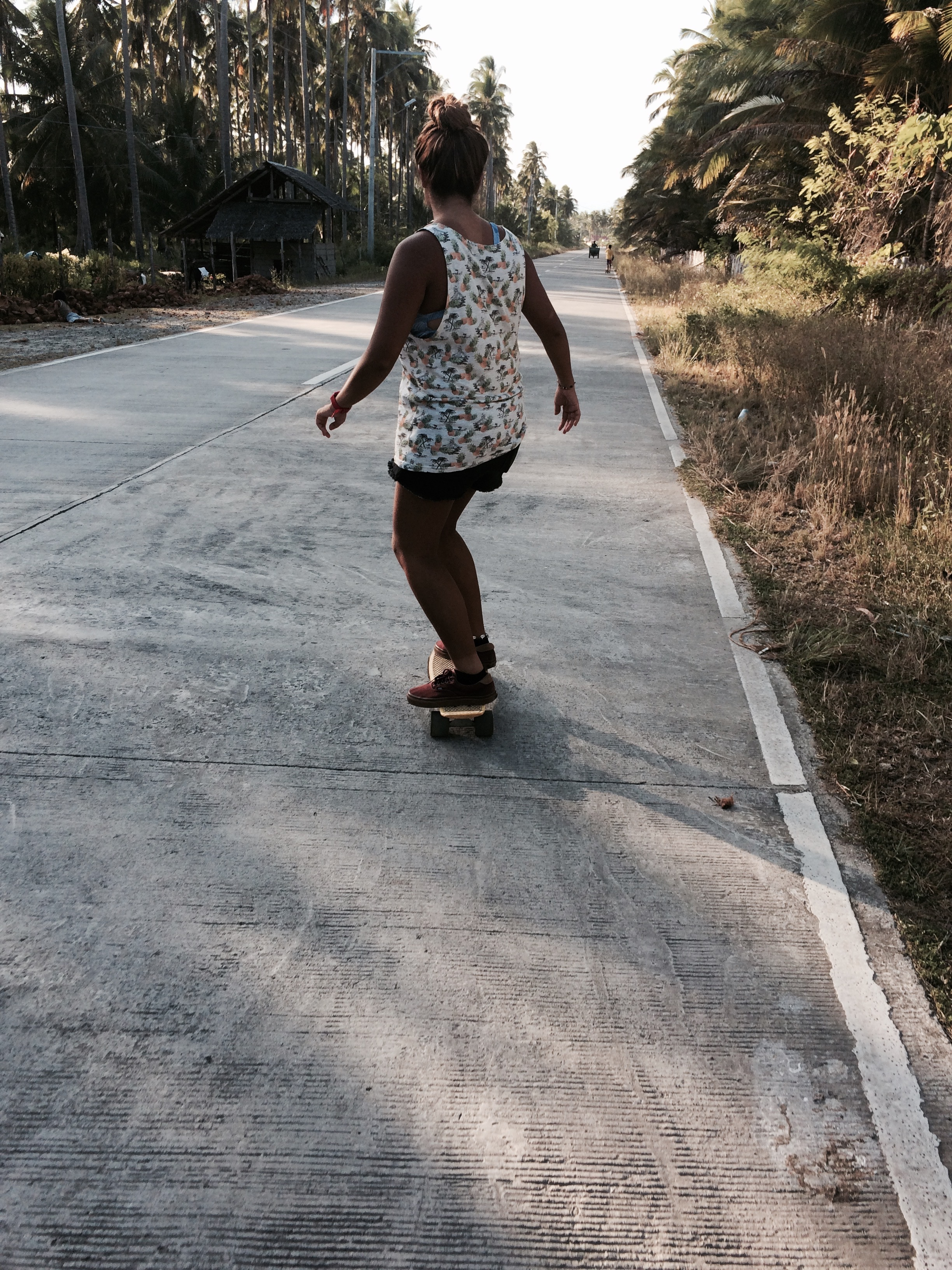 The best skating experience is on a semi-deserted coastal road where you could still see the waves.