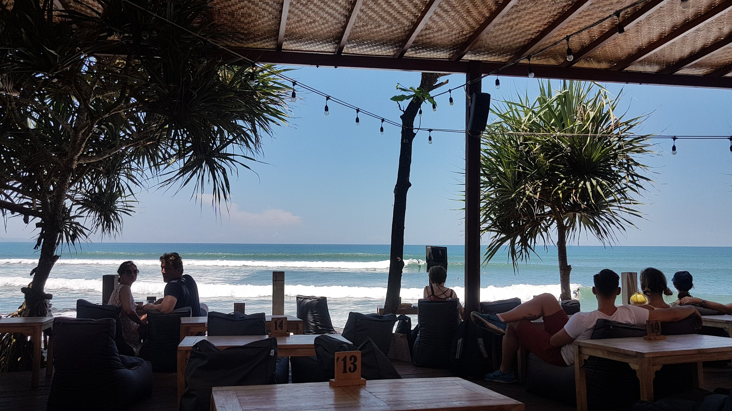 Seaweed Resto's view of the surf makes me always want to stay here after surfing to watch other people surf.