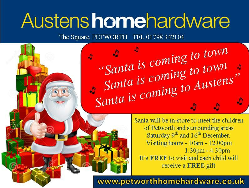 Santa is coming to Austens in Petworth