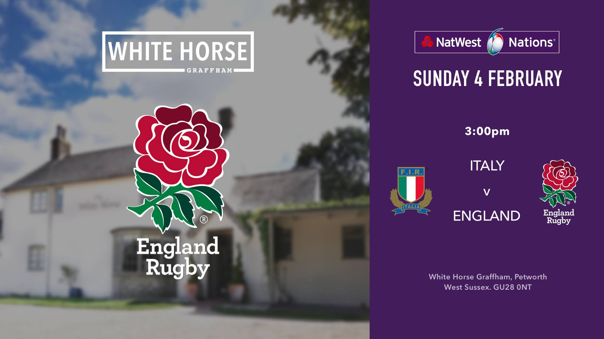 England v Italy: 6 Nations Rugby at the White Horse Graffham