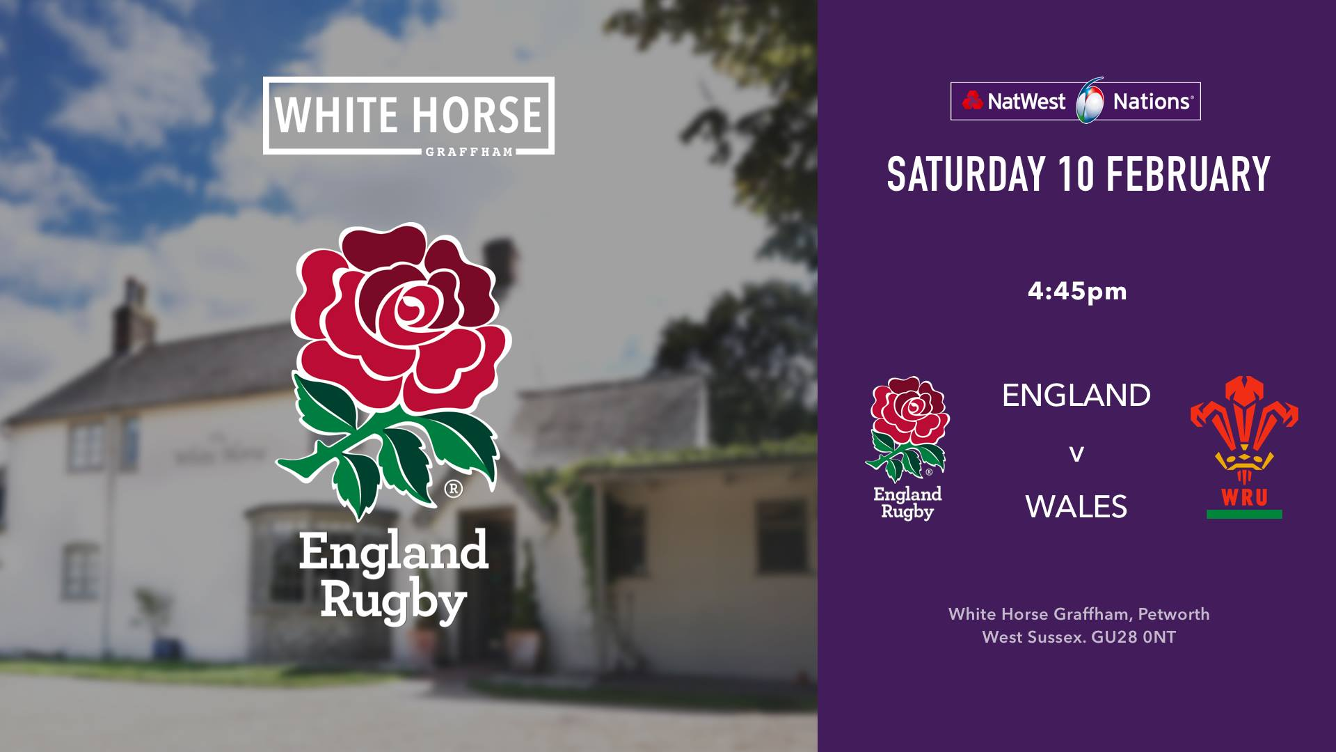 England v Wales: 6 Nations Rugby at the White Horse Graffham