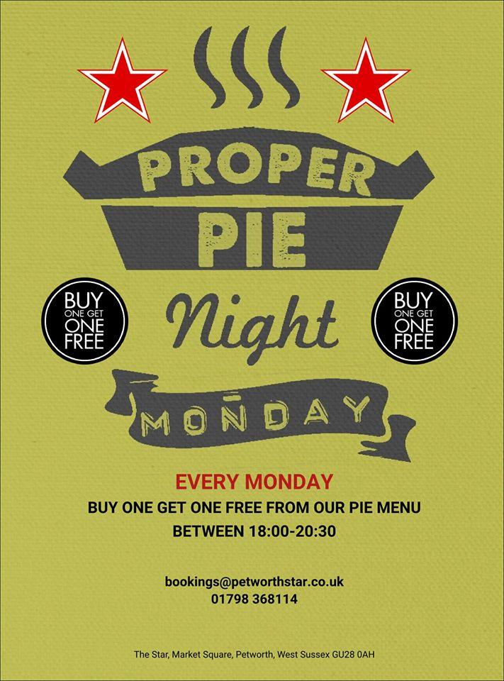 THE STAR - PROPER PIE NIGHT EVERY MONDAY - BUY ONE GET ONE FREE