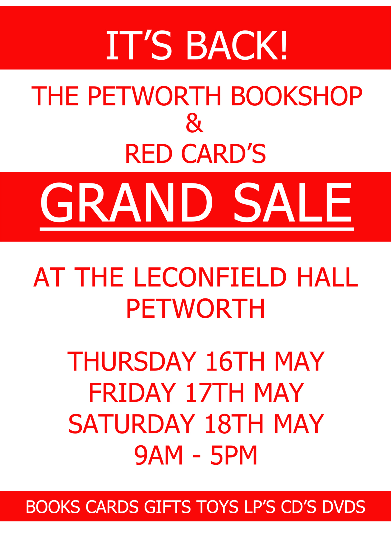 Grand Sale - The Petworth Bookshop & Red Card