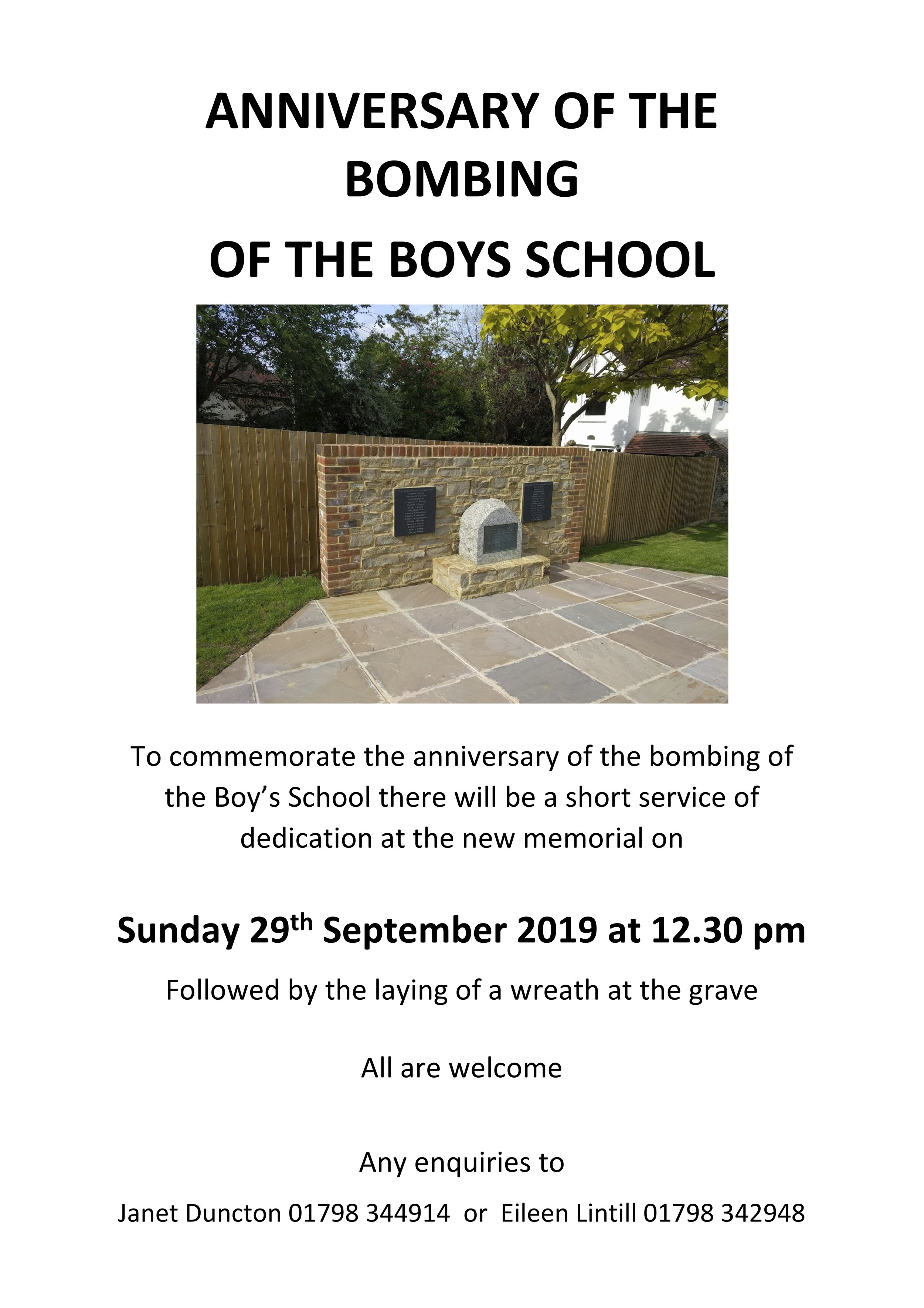 Anniversary of the Bombing of the Boys School