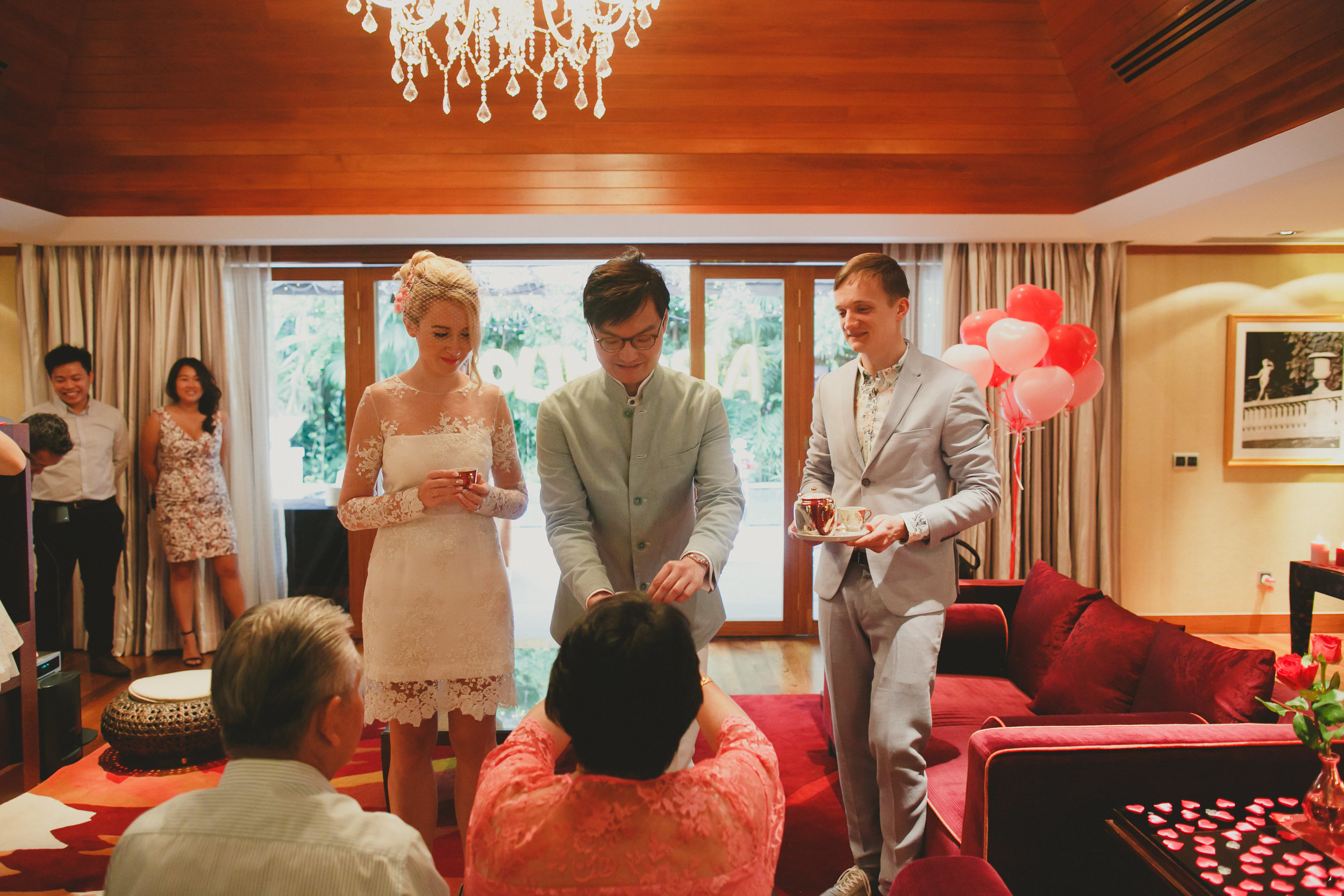 serving tea to parents as a sign of respect and official introduction of the bride