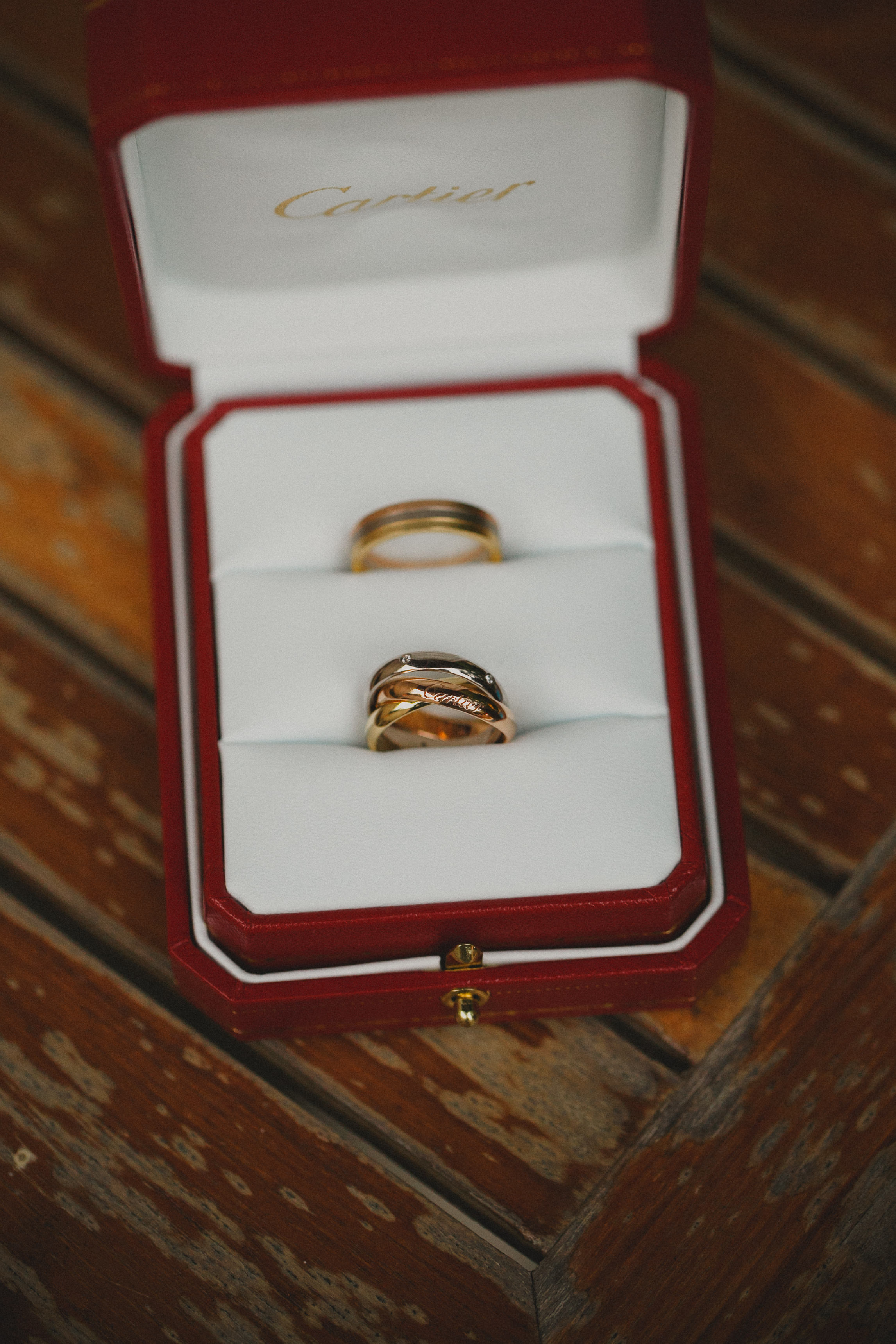 wedding bands  trinity de cartier  three symbolic gold colors of love: pink for love, yellow for fidelity and white for friendship