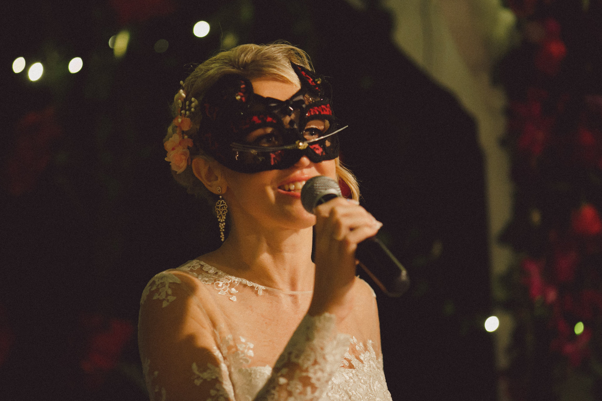 bride performing a surprise song for the groom  custom-made cats mask | etsy