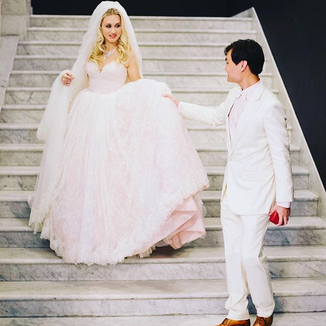 Princess gown: difficult to walk, but when else would you be able to wear such a spectacular dress? #weddingdress #weddinghair #weddingplanner #asiasaidyes #love #followforfollow #marriage #bride #polishgirl #mixedcouple #warsaw #warszawa #singapore