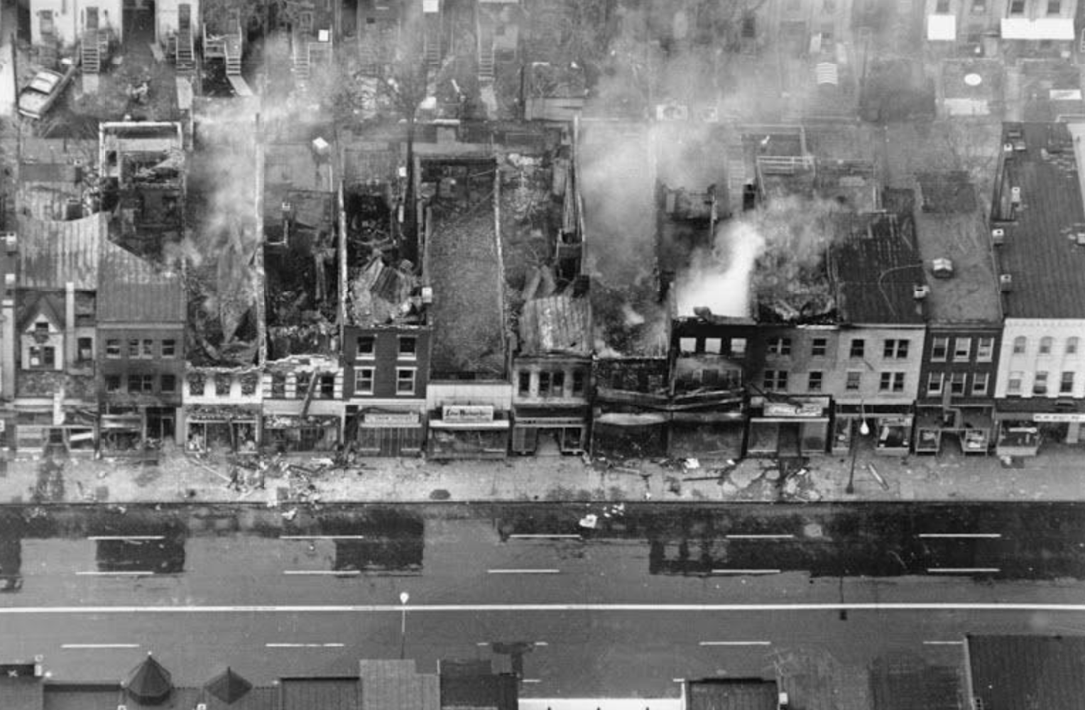 Burning buildings along H Street NE, Washington DC, April 5, 1968 (AP Photo)