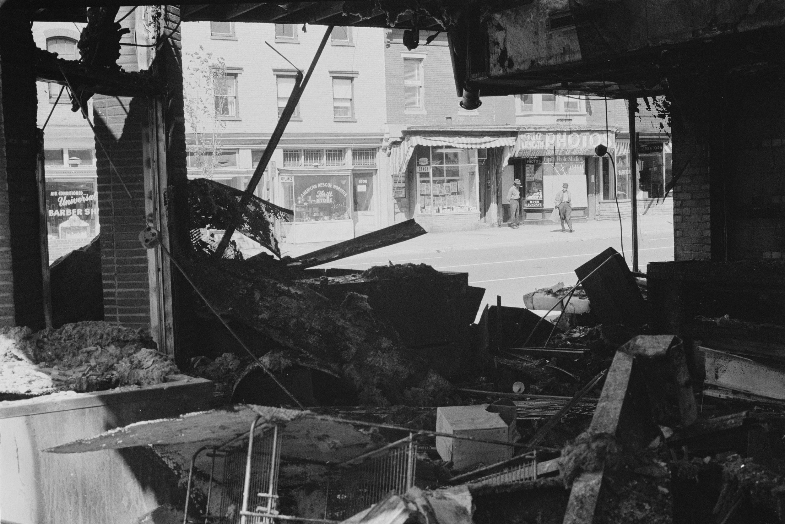 Damaged storefront following DC riots. Photo: Warren K. Leffler, Library of Congress