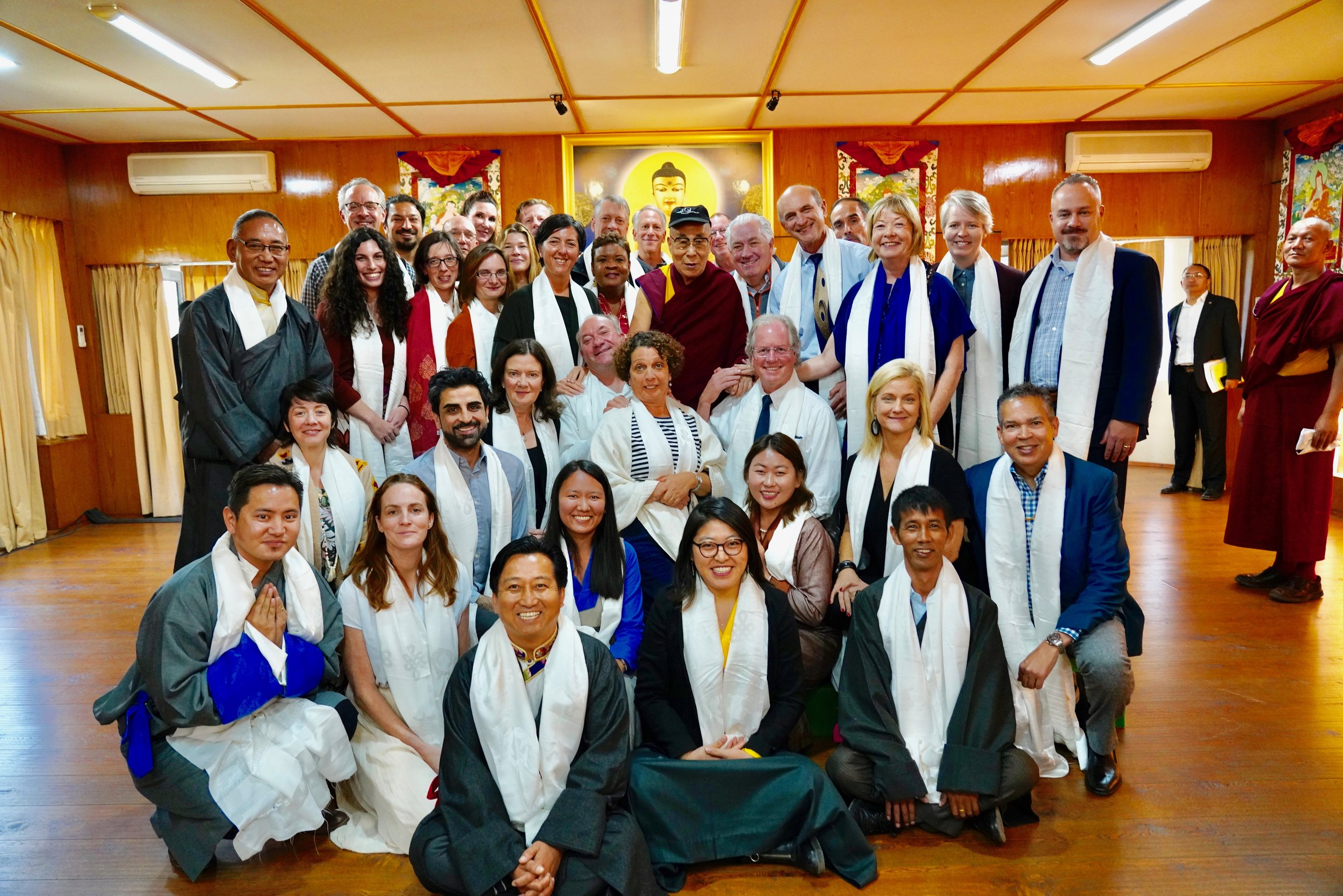 """I'm in the back row, right side. The Dalai Lama, center, is wearing a baseball cap that says """"San Francisco Ballet"""" given to him by one of the delegates Danielle St. Germain-Gordon. He loves baseball caps! Who knew?!"""