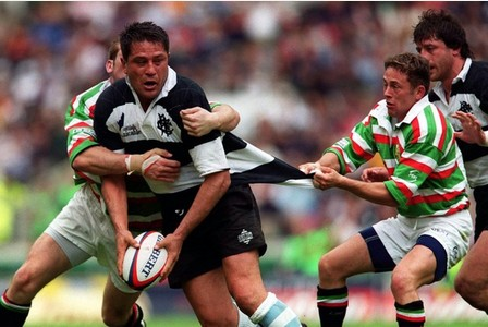 Jamie Hamilton for Leicester Tigers seen here keeping a safe distance from the rampaging number 8 in 1999!