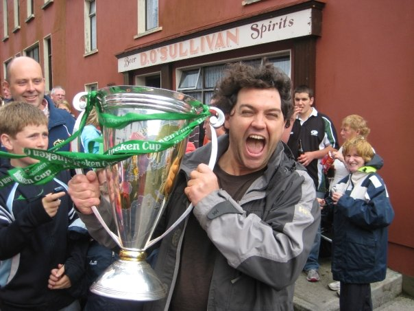 Holding Munsters Heineken Cup outside Dessies Bar on Bere Island 2008.