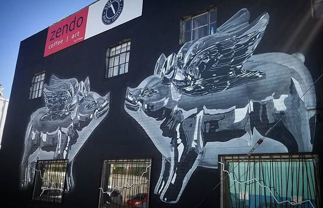The famous flying pigs at Zendo.. anyone know the artist? Please tag below.. #nmarts #nmartists #nmcreatives #mural #streetview #albuquerque #nm