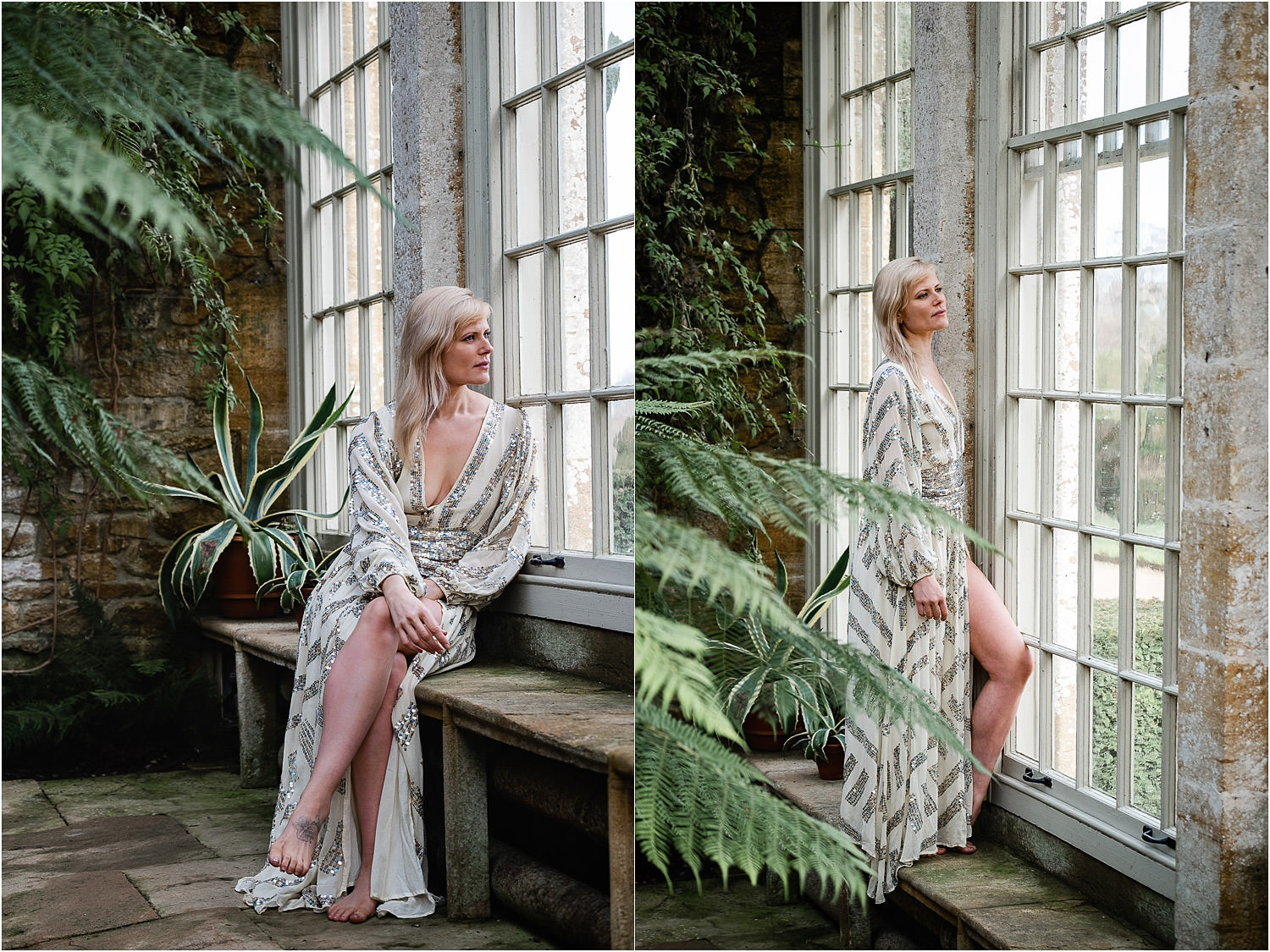 Two images side by side of a woman sat and then stood within the window of the Orangery at Montacute House, wearing a sequined dress.