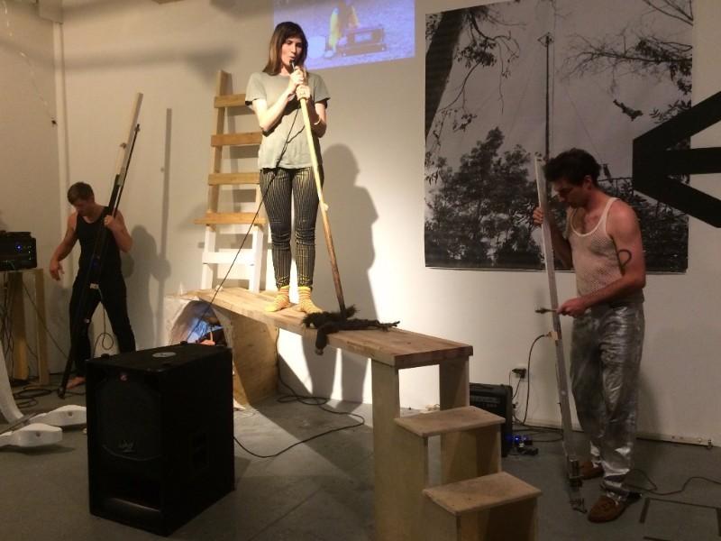 Dan Bainbridge's performance accompanying his exhibition  The Room , ART3 Gallery, Brooklyn, NY, June 24, 2017 © Dan Bainbridge 2017, photo Monika Fabijanska