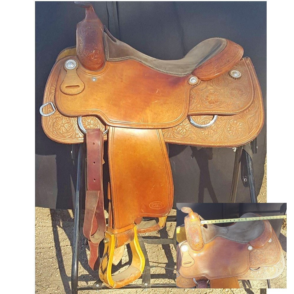 "Pish Saddlery made in Greenville, TX 15.5""    Pish are known to be a high quality saddle which fit a wide variety of horses"