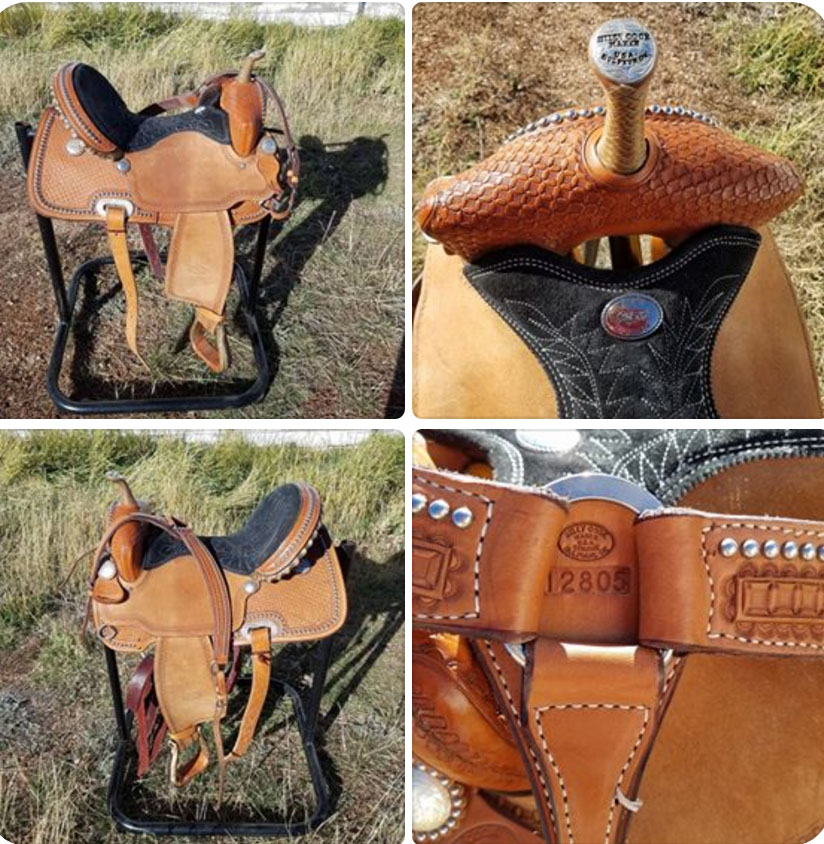 "BILLY COOK 15"" BARREL SADDLE SEMI QH BARS Comes with beautiful matching Billy Cook breast collar! This saddle has been ridden about 20 times. Great opportunity for a near new Billy Cook!"