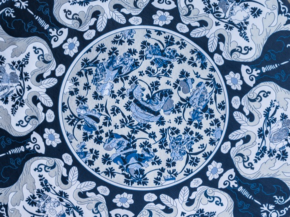 Delft Blue Jacquard