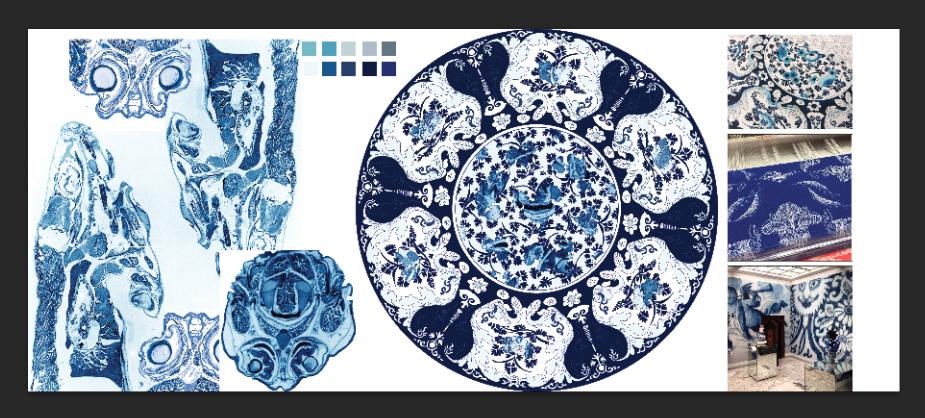Design process of Delft Blue jacquard weavings.