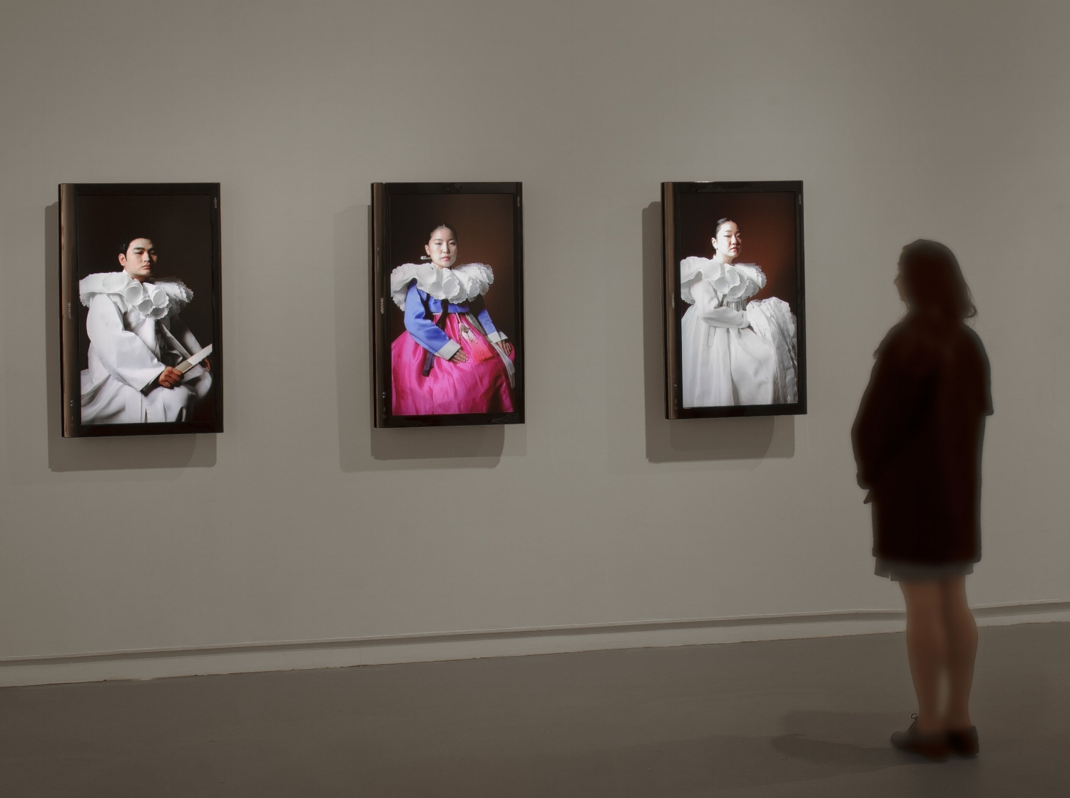 Clothing as Interface: Pansori Portraits #1-3 (videos installation view)