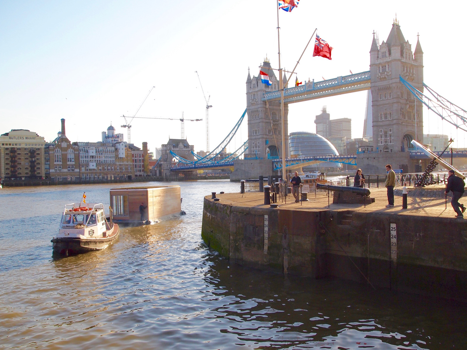 Eco floating homes at Tower Bridge