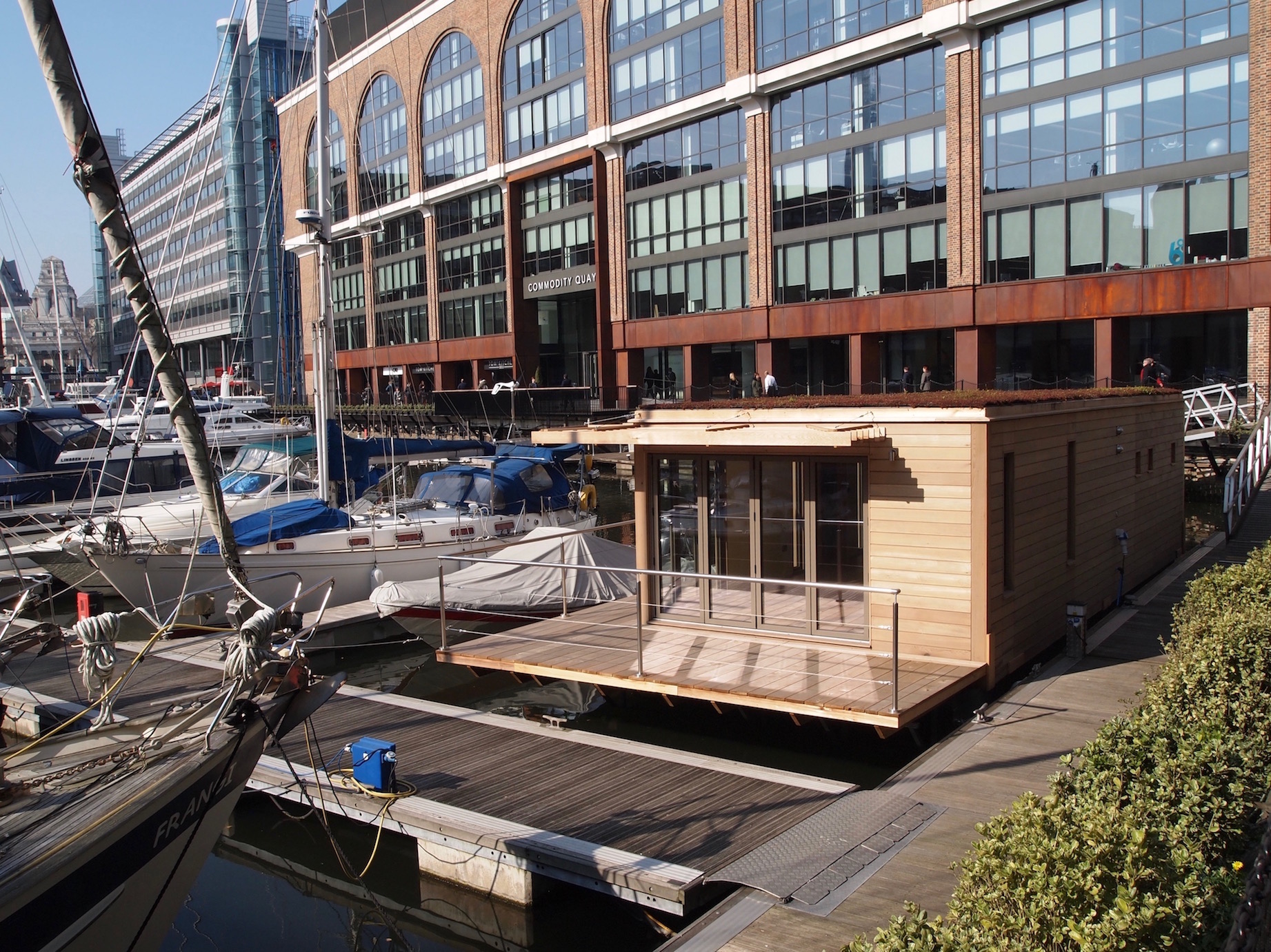 Floating home at Commodiry Quay, St Katharine Docks