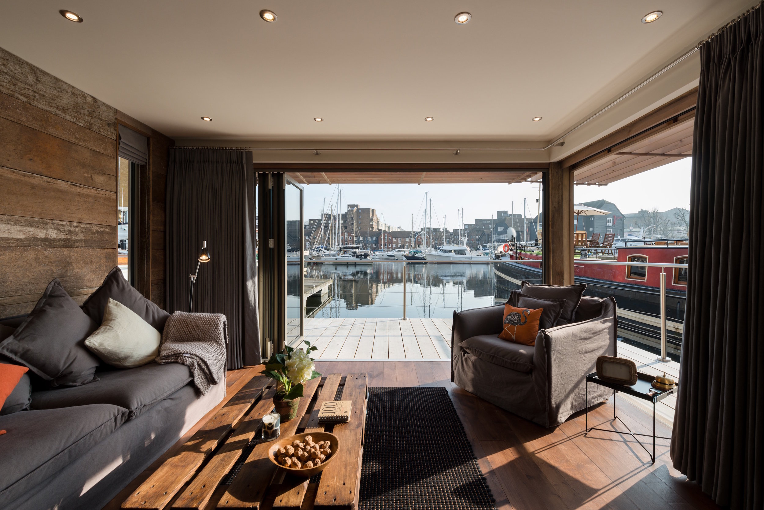 View from the floating home over East Dock, St Katharine Docks, London