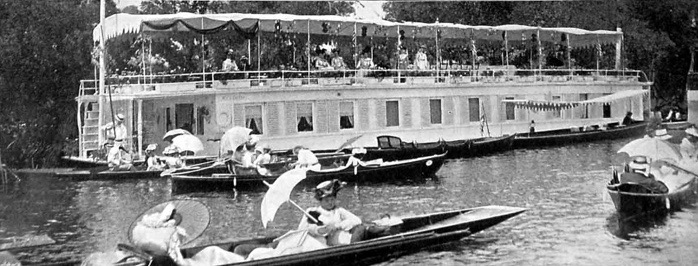 A Thames Houseboat at Henley Regatta, Circa 1902