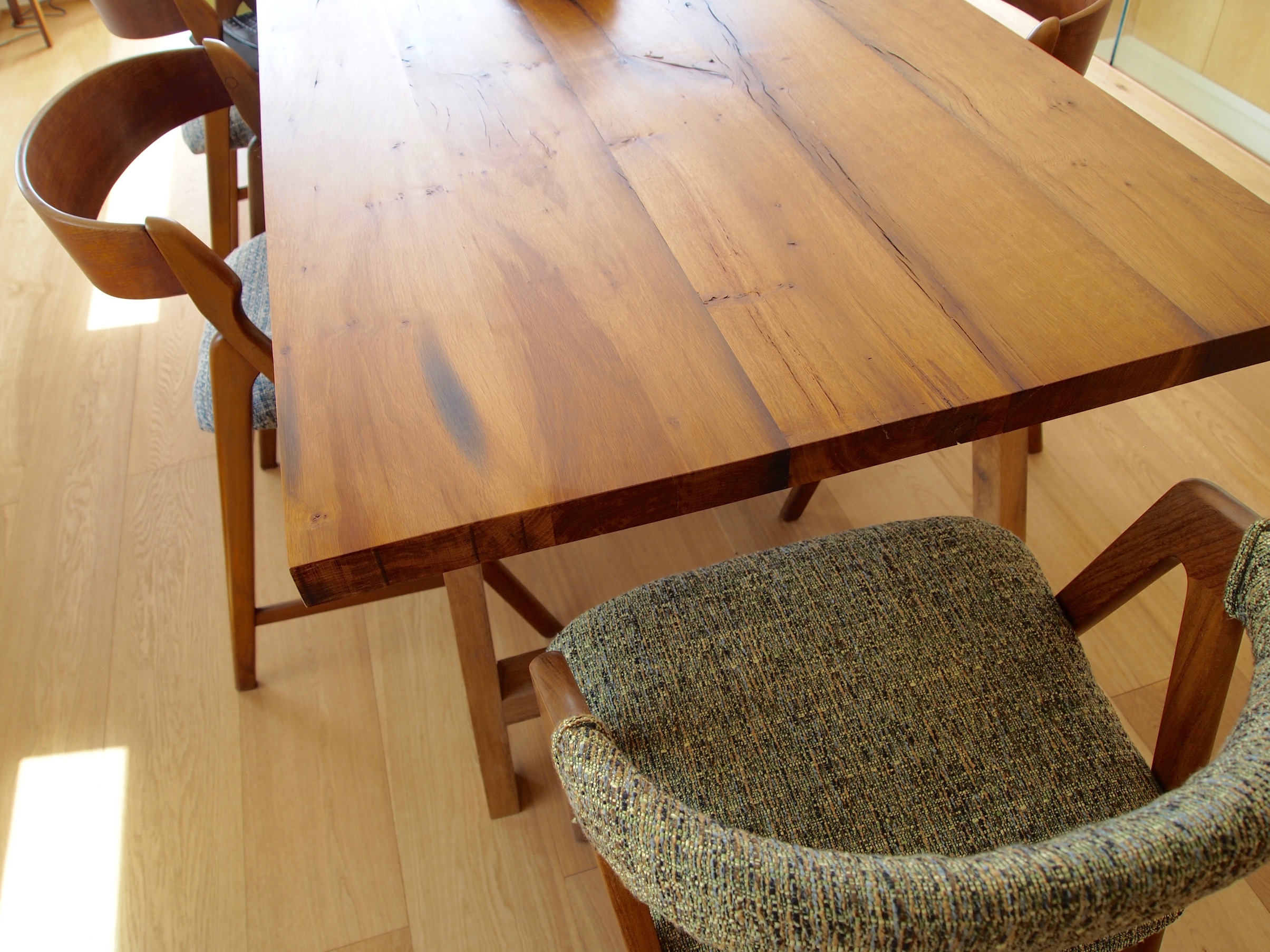 Table hand made from 300 year old oak beamss