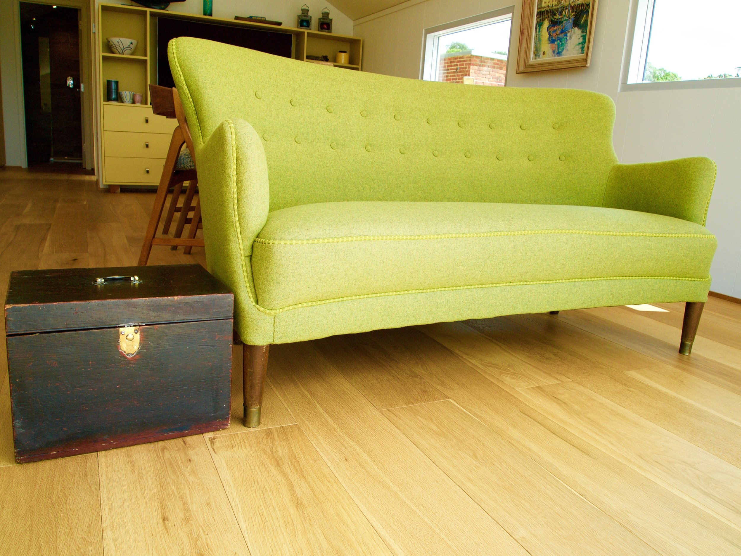 Up-cycled Mid Century sofa to watch the River Thames go by.