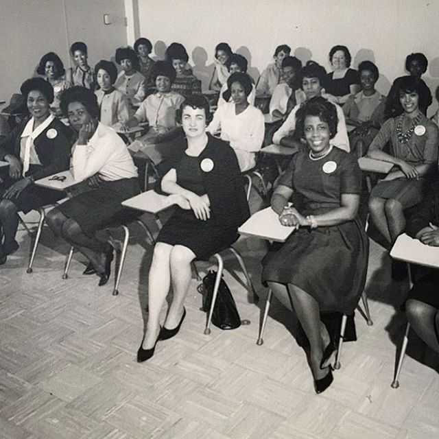 """Life's most persistent and urgent question is, 'What are you doing for others?'' -The Reverend Dr. Martin Luther King, Jr.  This portrait of a Port Authority of New York and New Jersey's toll collector training class was taken in September 1964, just two months after President Lyndon Baines Johnson signed the Civil Rights Act of 1964 into law, with Dr. King looking over his shoulder. . On the day Dr. King was shot, less than four years later, my mother (front row, third from right), then a single working mother of three single-digit-aged children, would work a double shift in the lanes at the Holland Tunnel to fill in for her colleagues, who had become so distraught upon hearing the news of Dr. King's death that they needed to go home. Later that week, our mother would tell us about the riots that were breaking out in her colleagues' neighborhoods, and of their sadness and fear. . I just pulled the photograph out of its paper folder and realized for the first time that my mother had written the names of all of these remarkable women on the back, in alpha order (not by row, unfortunately). I wish I had a way of sharing this memory with their families. They all had dreams, and I hope they all came true. . We are all a part of each other's stories. ❤️🕊 . ~shared by @artandintuition  #savefamilyphotos  #mlk #mlkday"