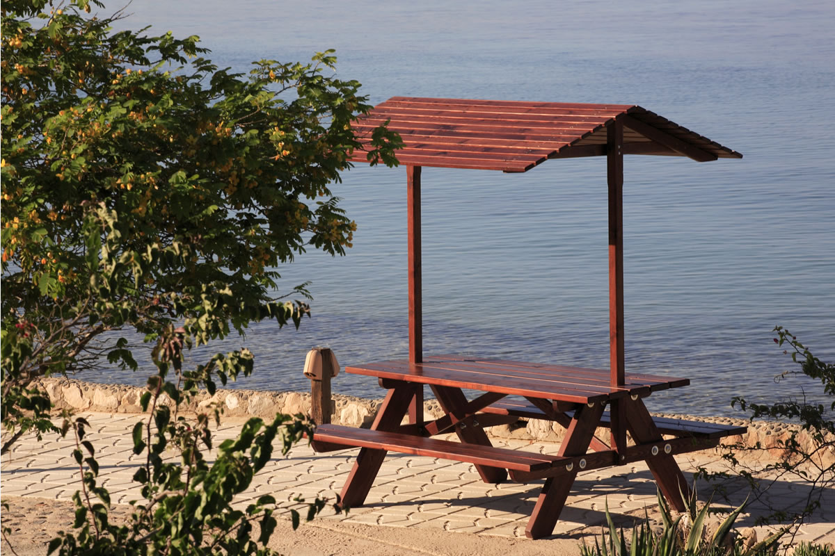 picnic table with a shed