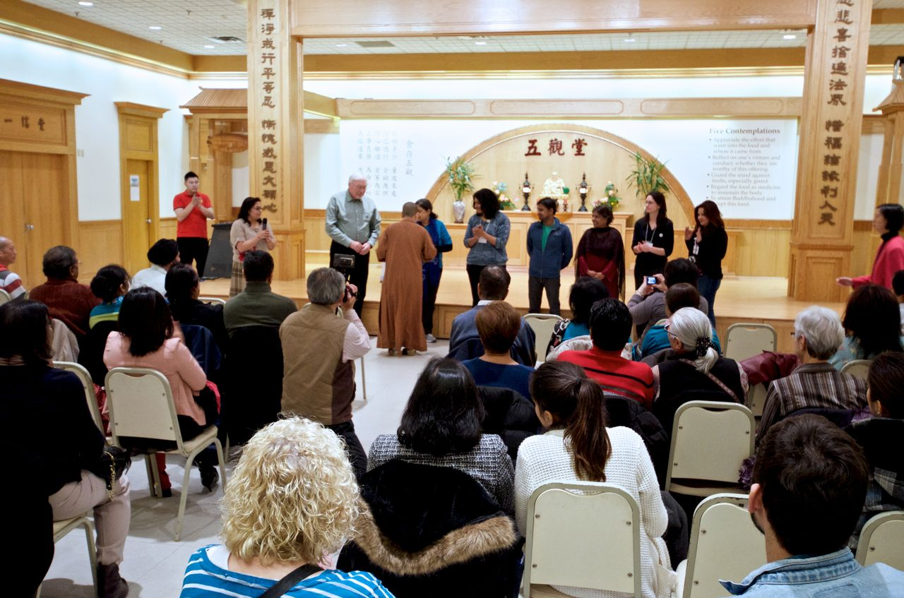 At a Water Docs Where-You-Live event,people discuss the impact of the water film they just saw at Fo Guang Shan temple in Mississauga.
