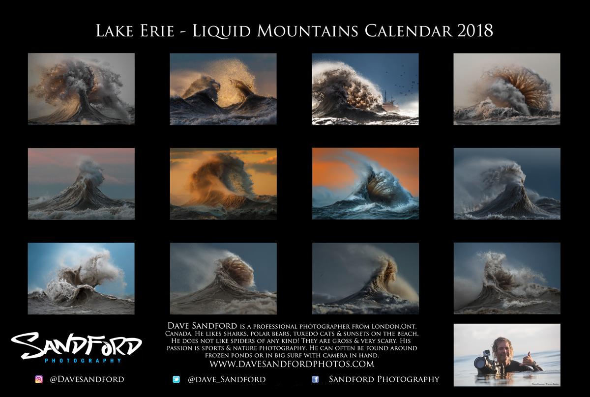 2018 Liquid Mountains Calendar by Dave Sandford