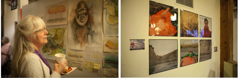 A Water Docs patron engages with works of art created by the artists in    The Peel Project   .