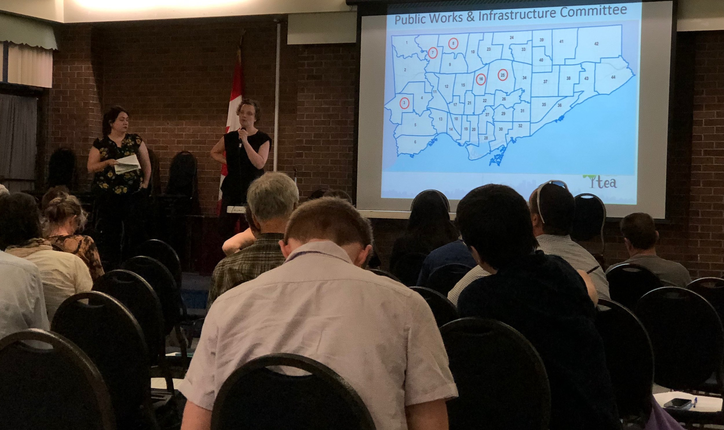 A map showing where the   the Public Works and Infrastructure Committee (PWIC)   councillors are located in Toronto, from TEA's Zero Waste Plastic Advocacy Training Session