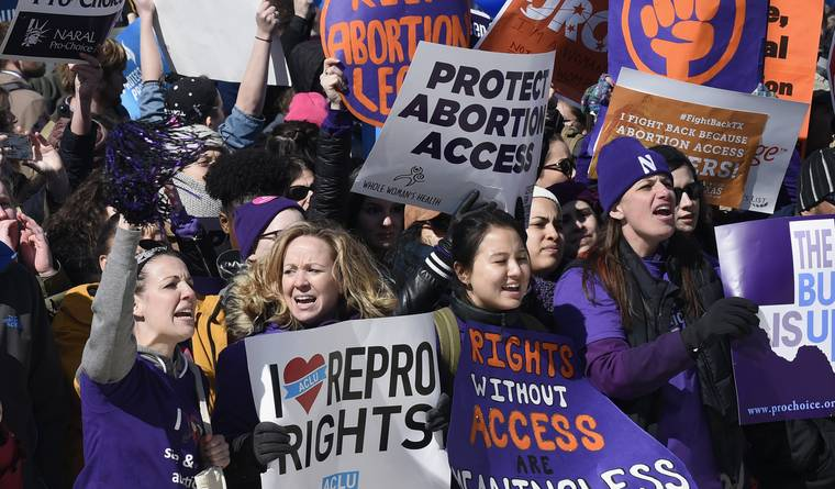 Abortion rights supporters at rally