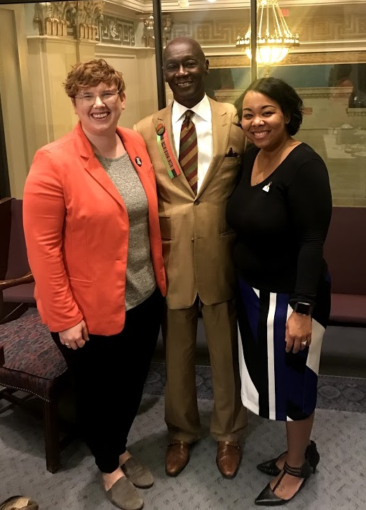 Oklahoma Organizer Anna Facci, Senator George Young, and Tamya Cox-Toure attend the Oklahoma Legislative Black Caucus Luncheon, Feb. 13.
