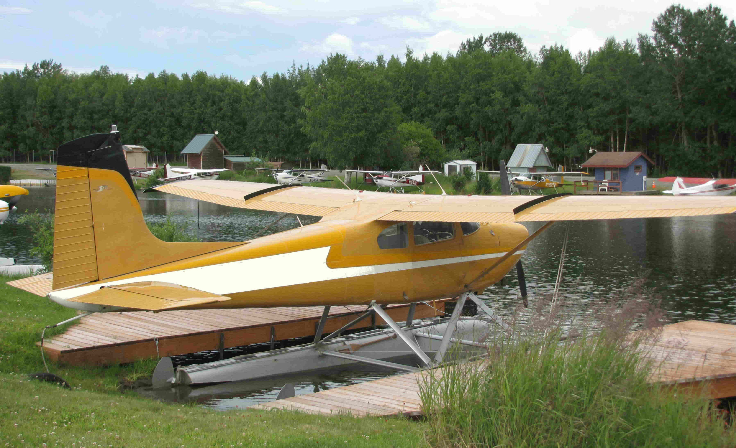A Cessna 180 at Lake Hood Seaplane Base in Anchorage