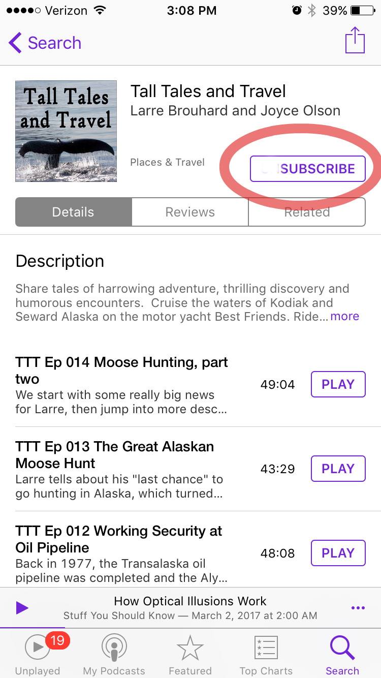 PHOTO 2. Podcast episode list on the Podcasts app