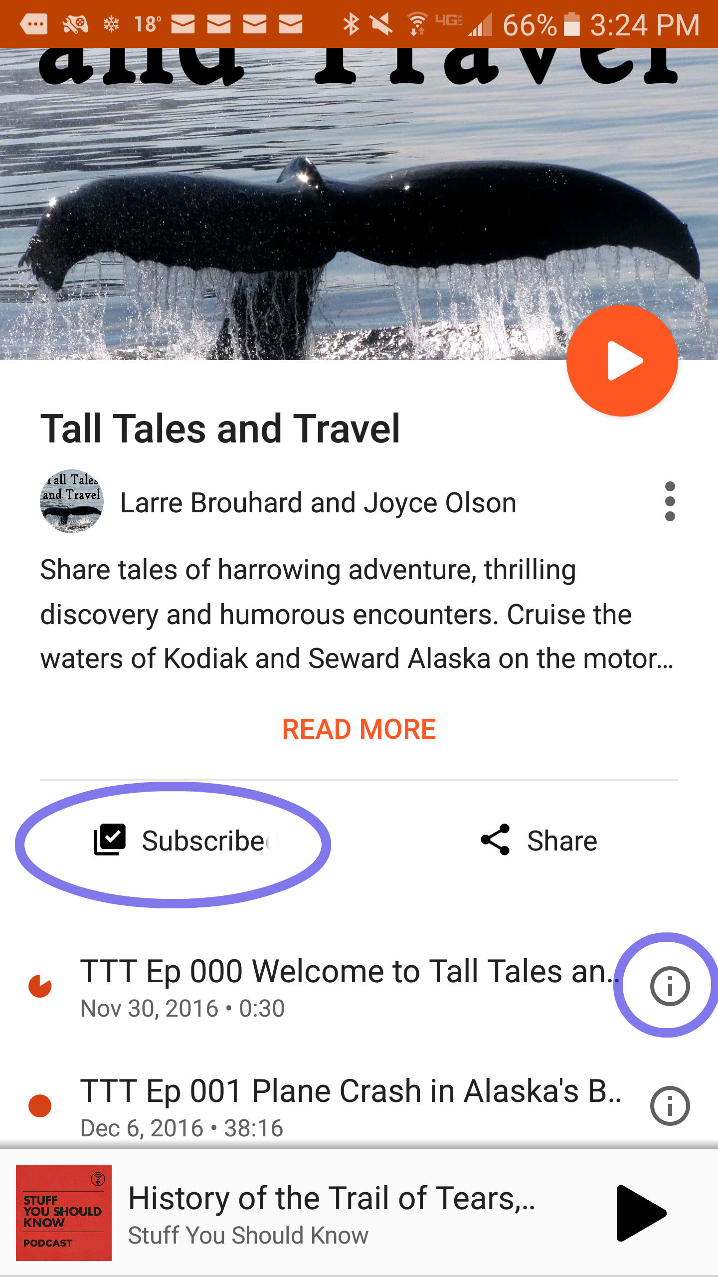 PHOTO 4. Podcast episode list on the Google Play Music app
