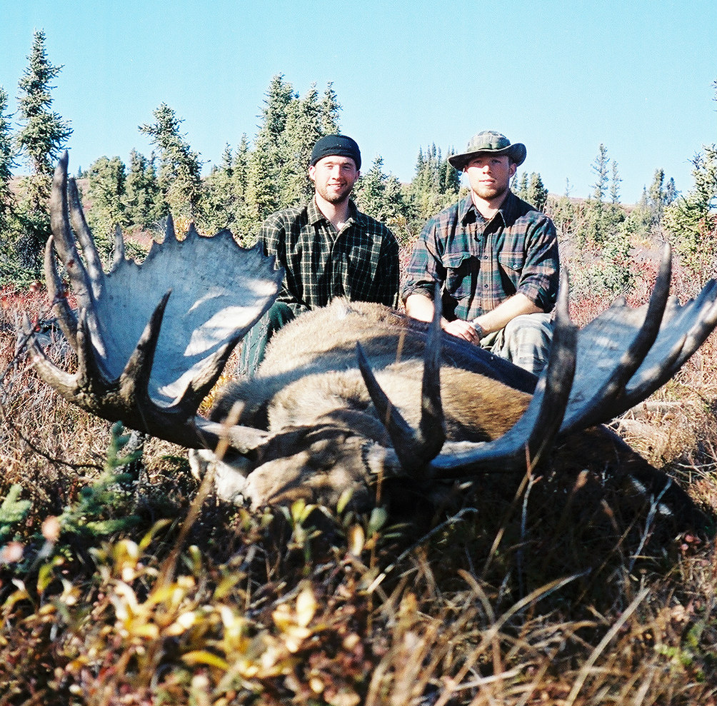 Casey and Bill with a 61-inch moose