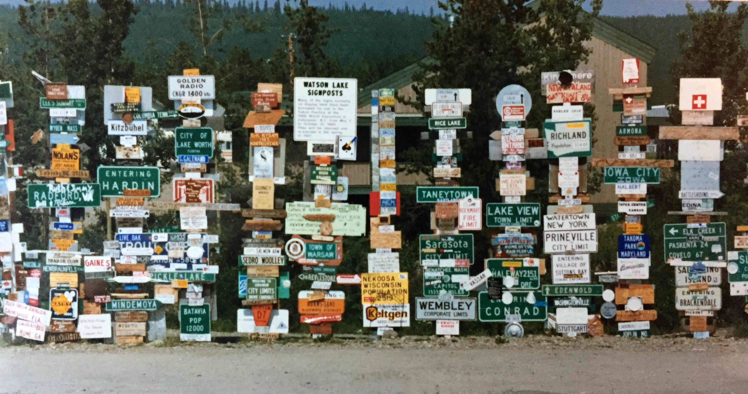 sign post forest in Watson Lake, Yukon, 1986
